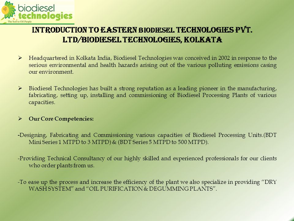 Introduction to Eastern Biodiesel Technologies Pvt