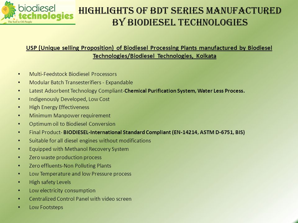 Highlights of BDT series manufactured by Biodiesel Technologies