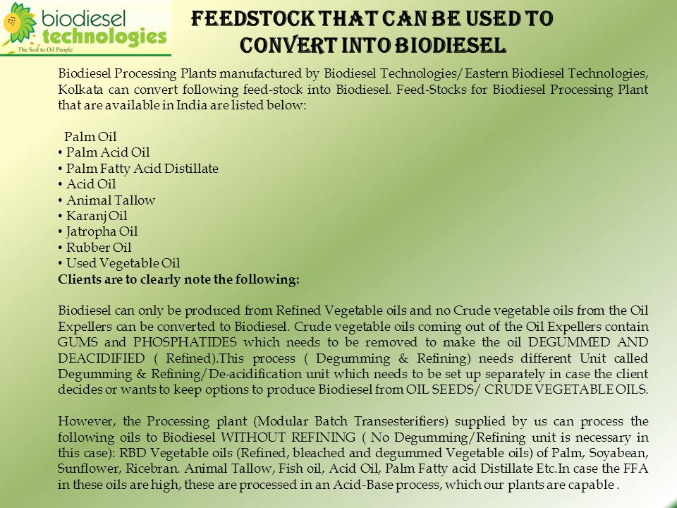 FEEDSTOCK that can be used to convert into biodiesel