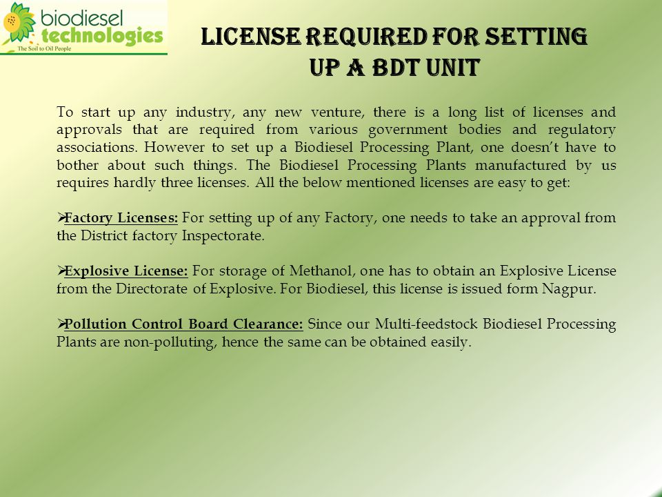 License required for setting up a BDT UNIT