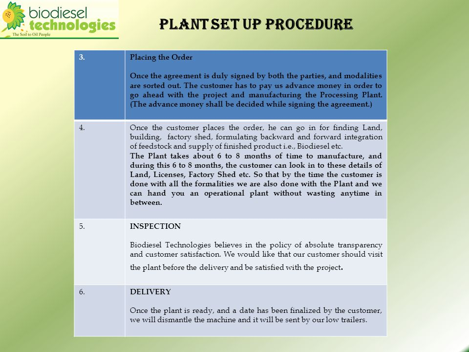 Plant set up procedure 3. Placing the Order