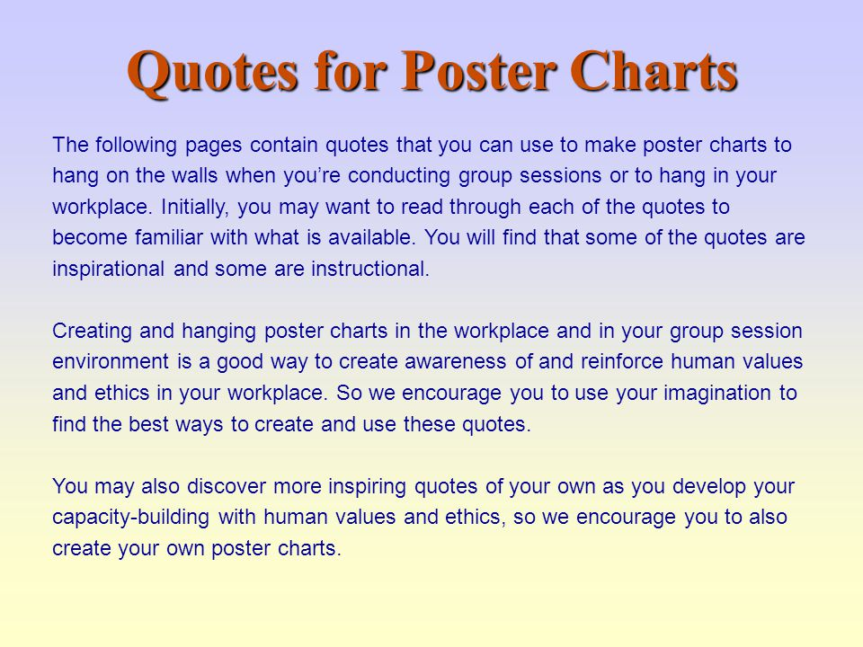 Quotes for Poster Charts