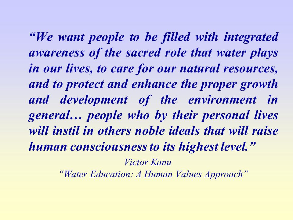 Victor Kanu Water Education: A Human Values Approach