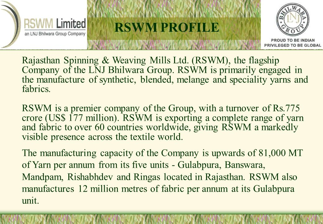 RSWM PROFILE