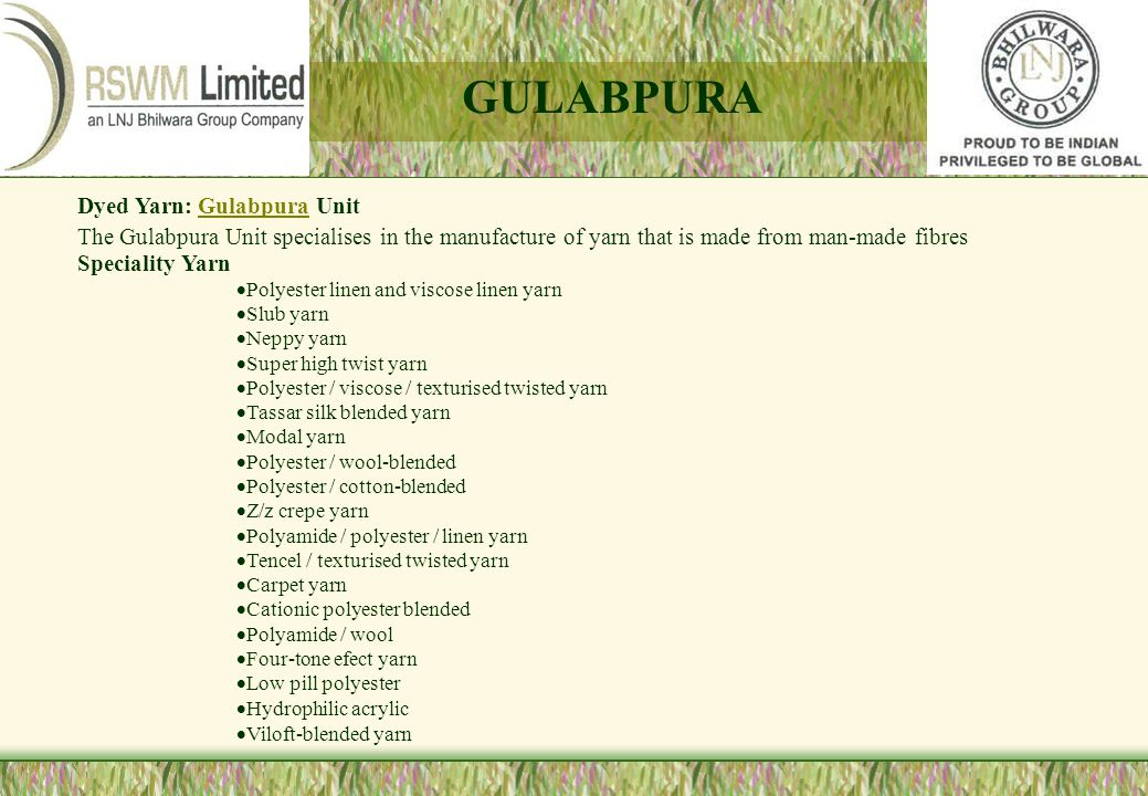 GULABPURA Dyed Yarn: Gulabpura Unit