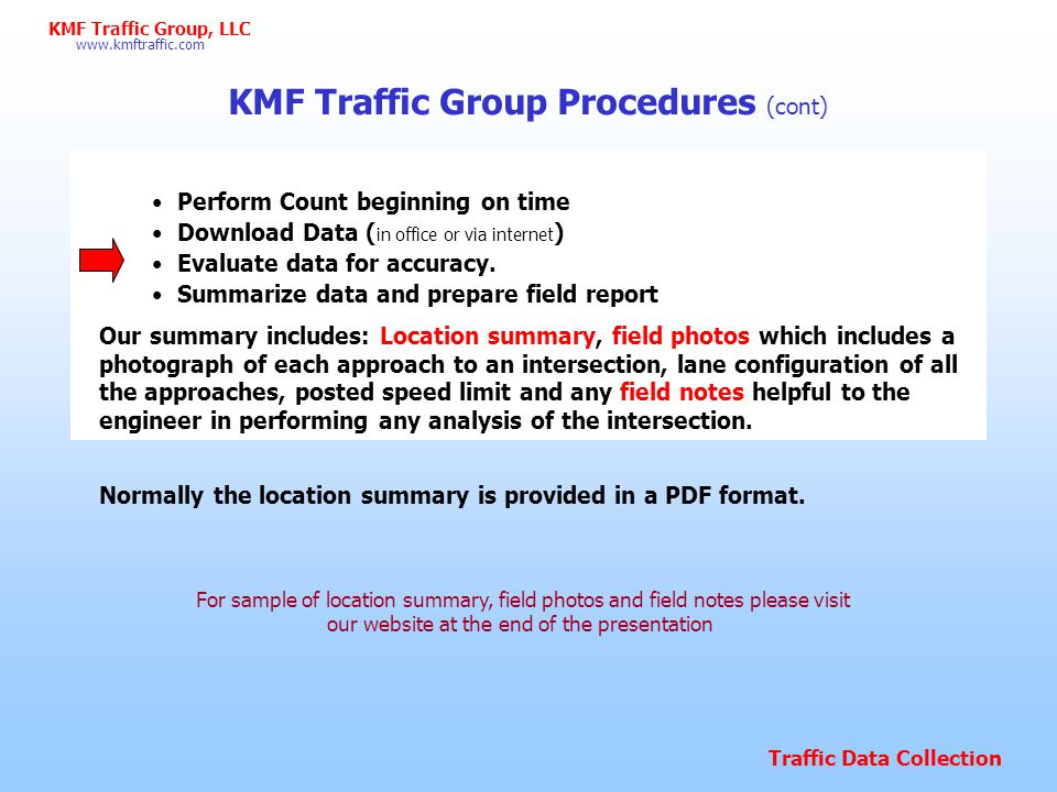 KMF Traffic Group Procedures (cont)