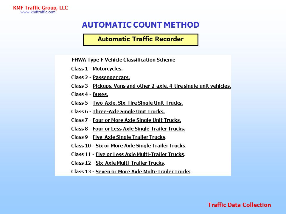 AUTOMATIC COUNT METHOD Automatic Traffic Recorder