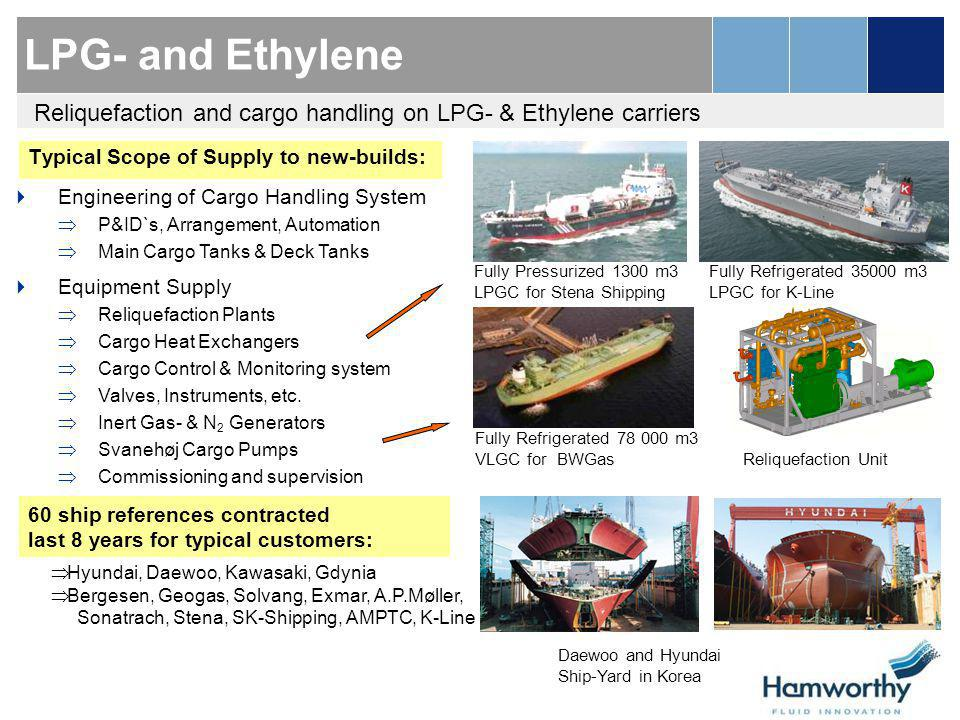 LPG- and Ethylene Reliquefaction and cargo handling on LPG- & Ethylene carriers. Typical Scope of Supply to new-builds: