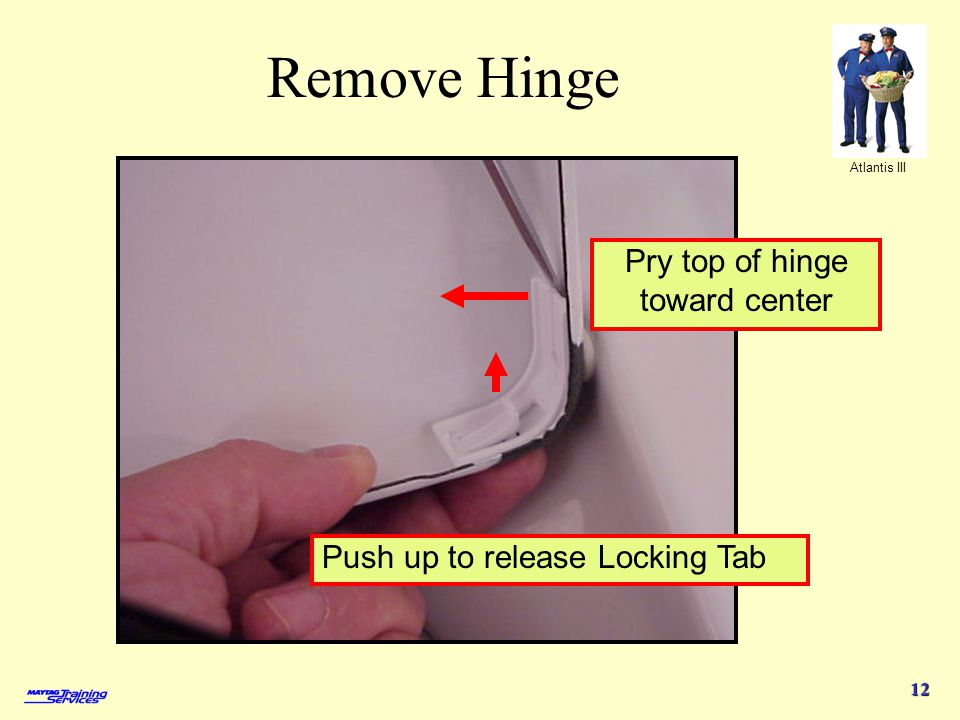 Pry top of hinge toward center