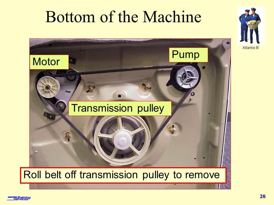 Bottom of the Machine Pump Motor Transmission pulley