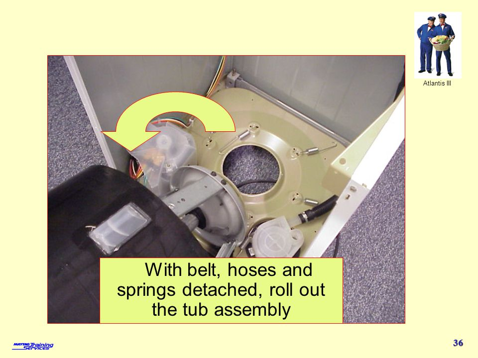 With belt, hoses and springs detached, roll out the tub assembly