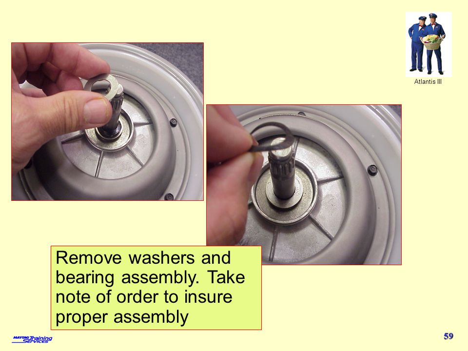 4/1/2017 Remove washers and bearing assembly. Take note of order to insure proper assembly.
