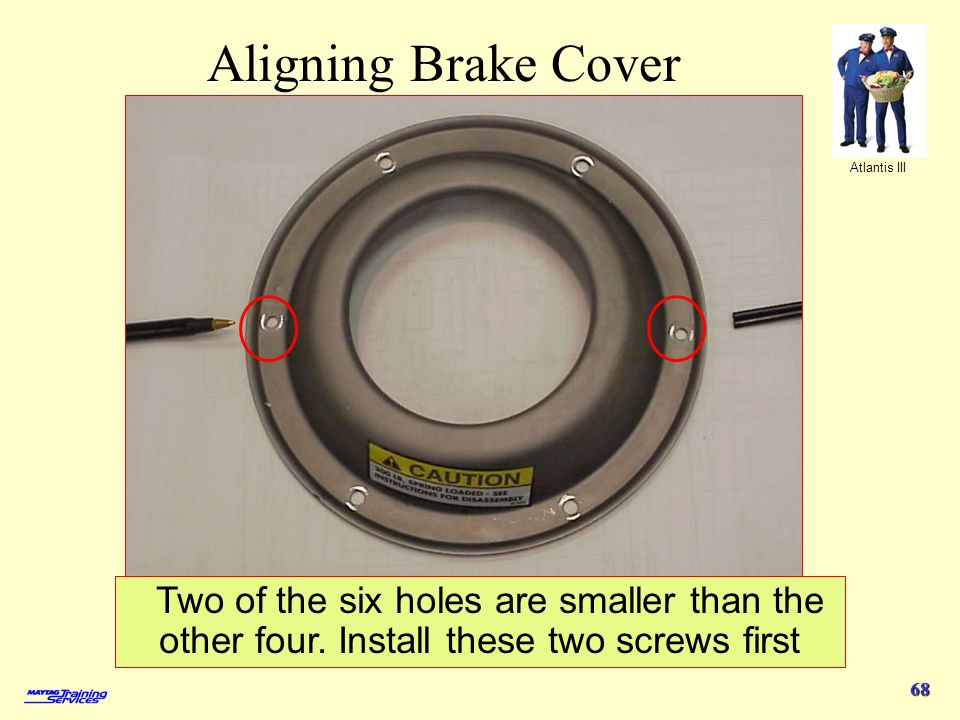 Aligning Brake Cover Two of the six holes are smaller than the other four.