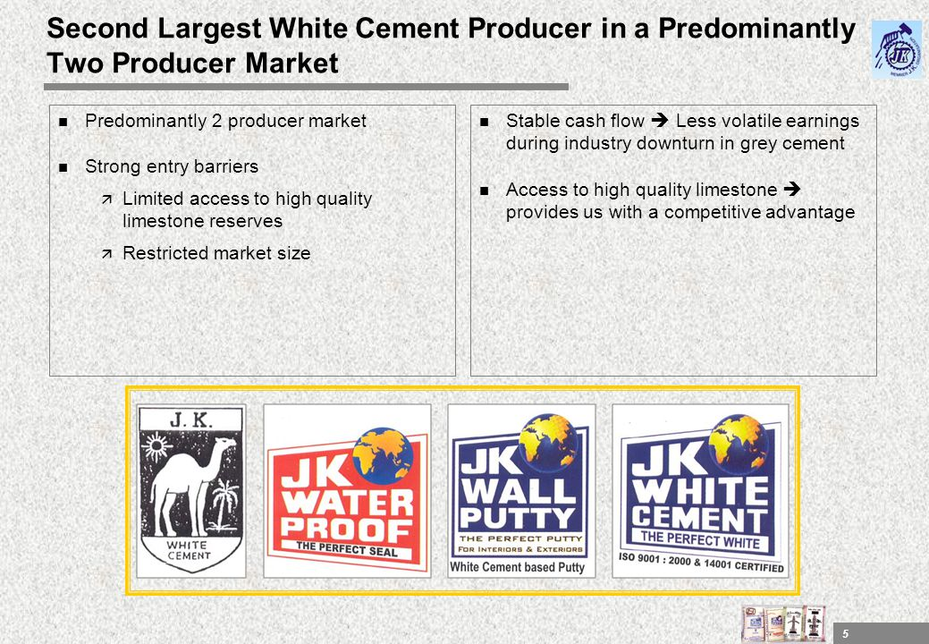Second Largest White Cement Producer in a Predominantly Two Producer Market