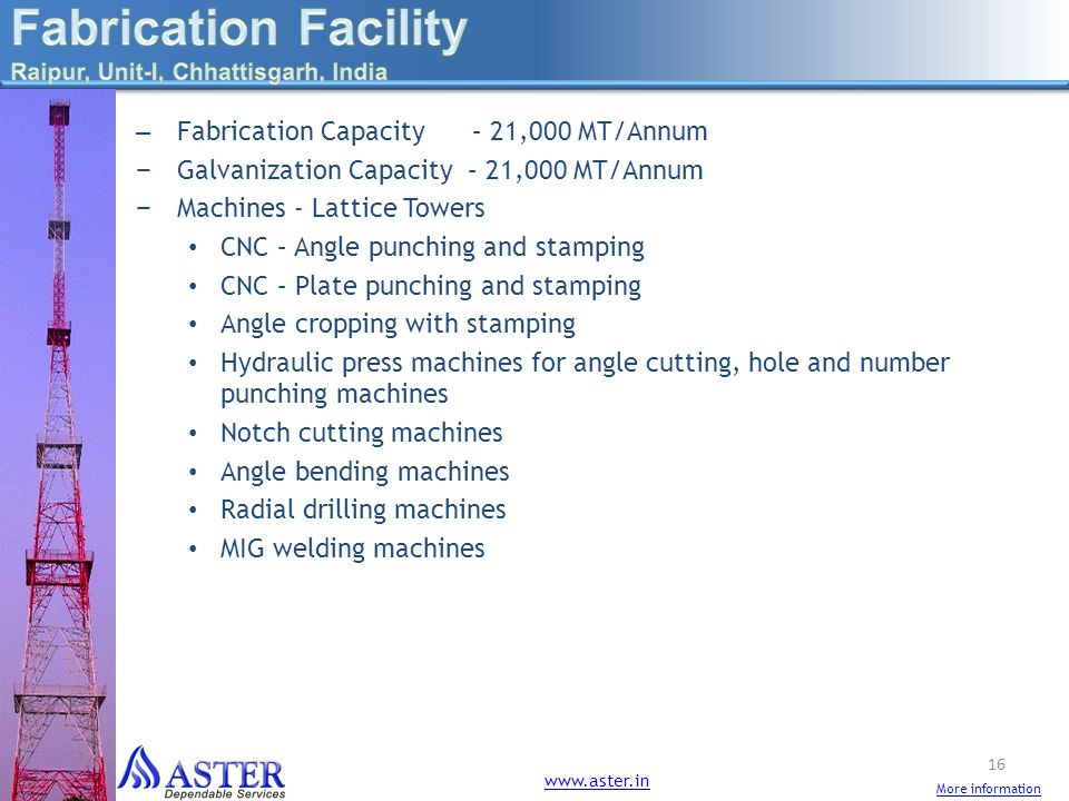 Fabrication Facility Fabrication Capacity – 21,000 MT/Annum