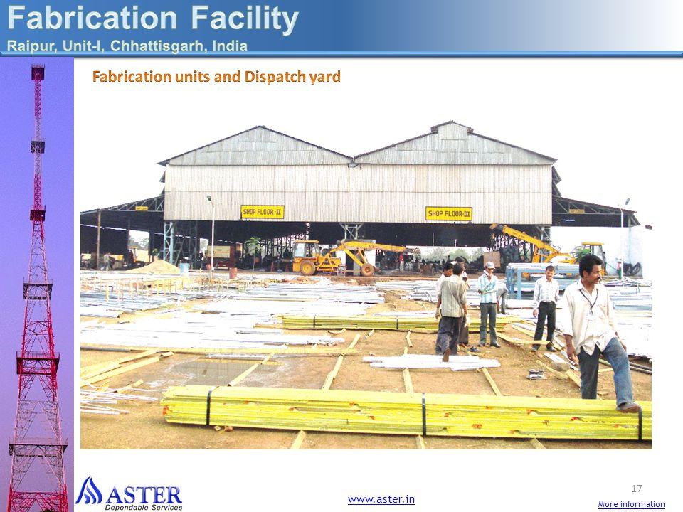 Fabrication Facility Fabrication units and Dispatch yard