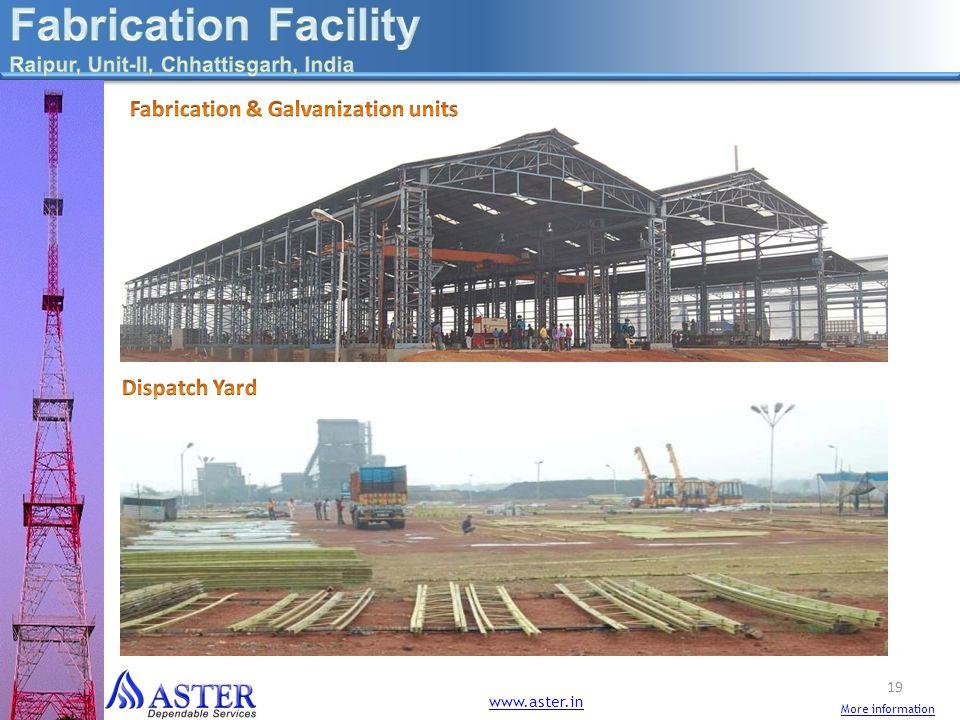 Fabrication Facility Fabrication & Galvanization units Dispatch Yard