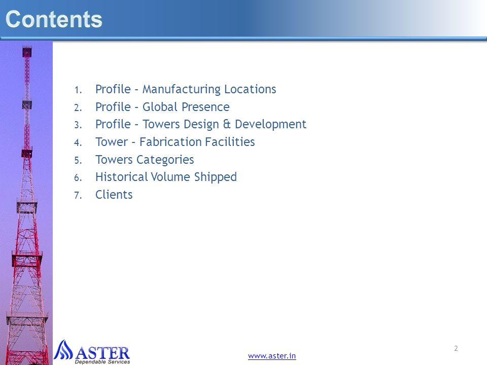 Contents Profile – Manufacturing Locations Profile – Global Presence