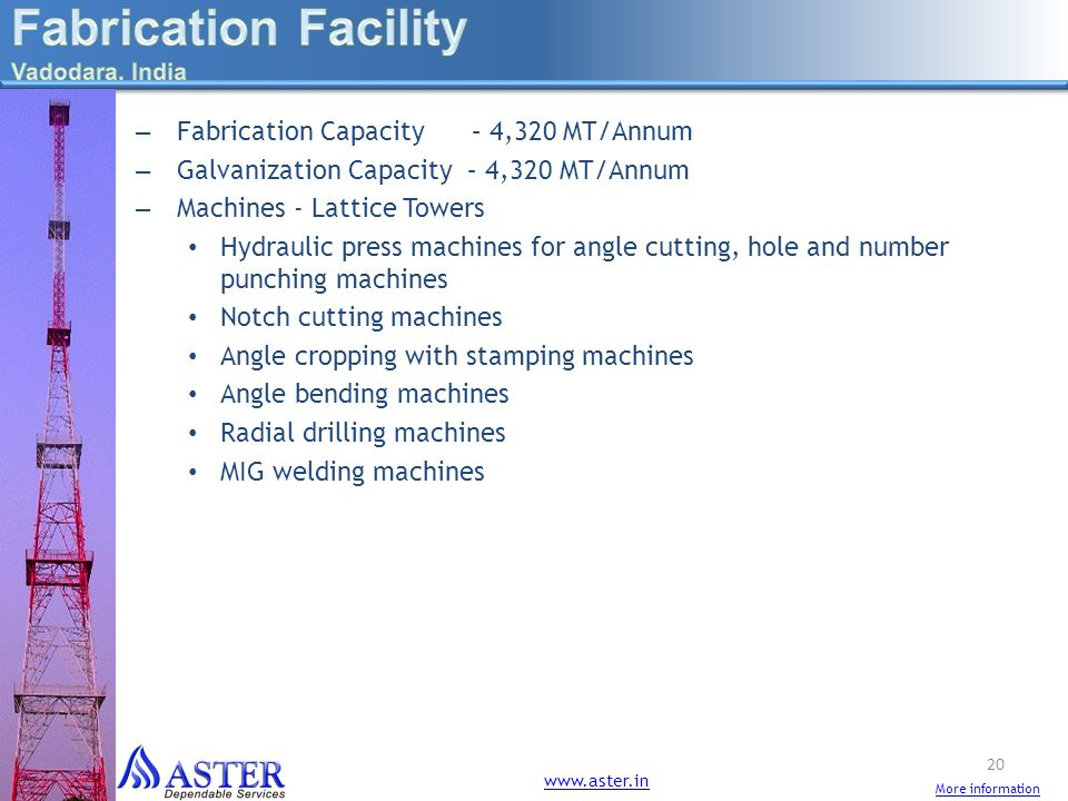 Fabrication Facility Fabrication Capacity – 4,320 MT/Annum