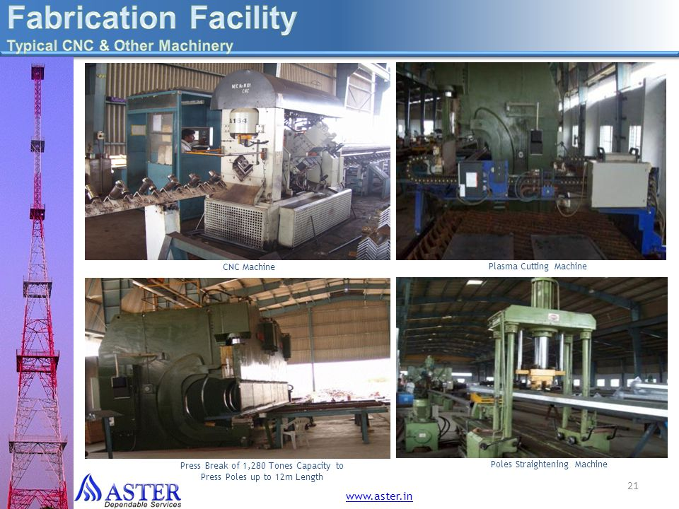 Fabrication Facility Typical CNC & Other Machinery www.aster.in