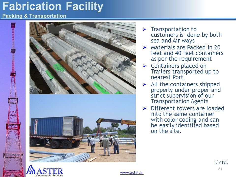 Fabrication Facility Packing & Transportation. Transportation to customers is done by both sea and Air ways.