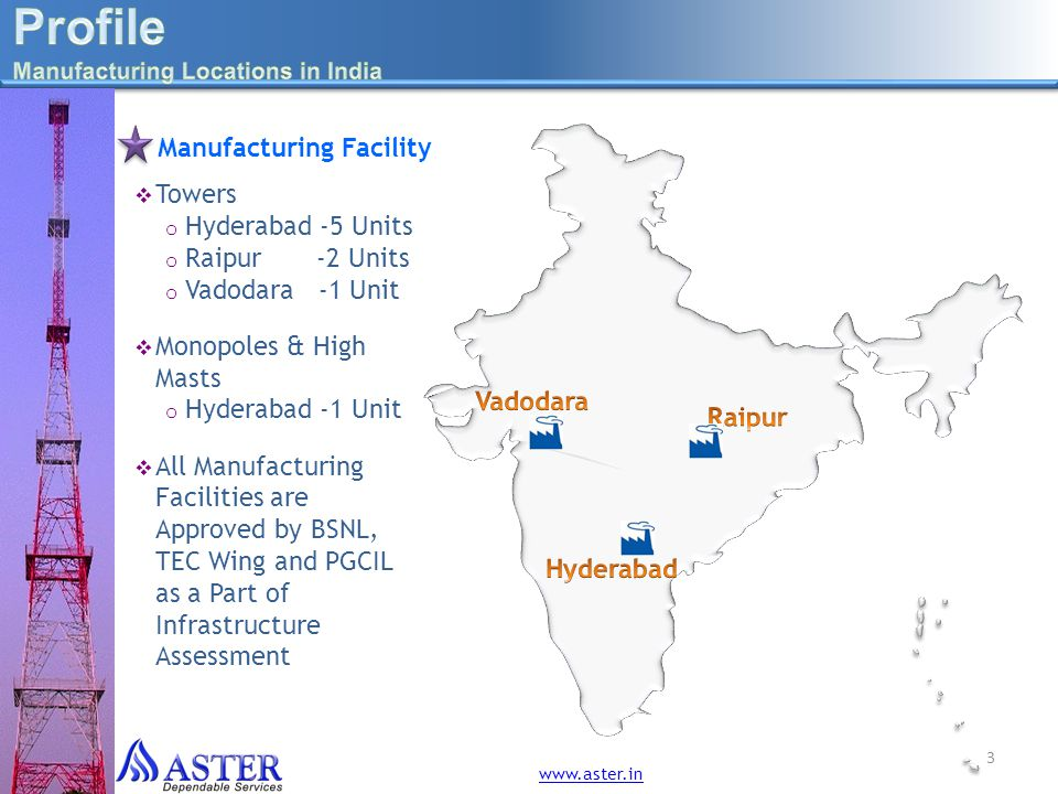 Profile Manufacturing Facility Towers Hyderabad -5 Units