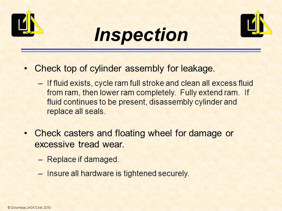 Inspection Check top of cylinder assembly for leakage.