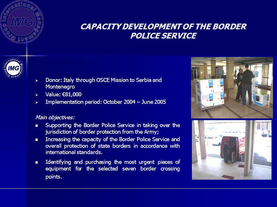 CAPACITY DEVELOPMENT OF THE BORDER POLICE SERVICE