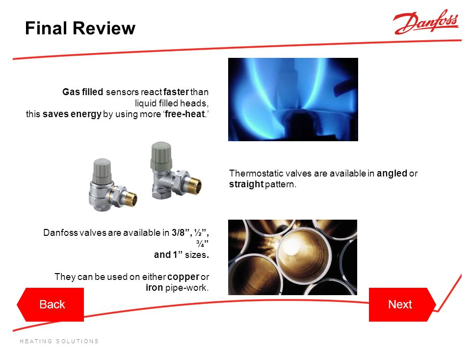 Final Review Back Back Next Next Gas filled sensors react faster than