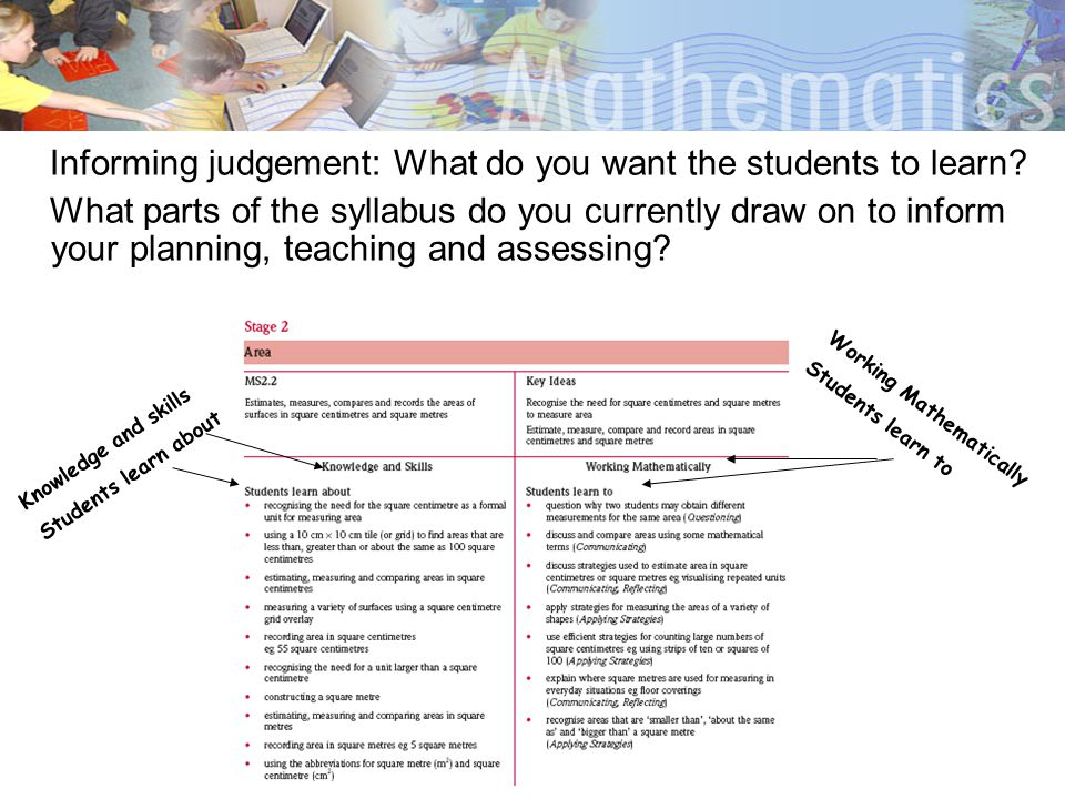 Informing judgement: What do you want the students to learn