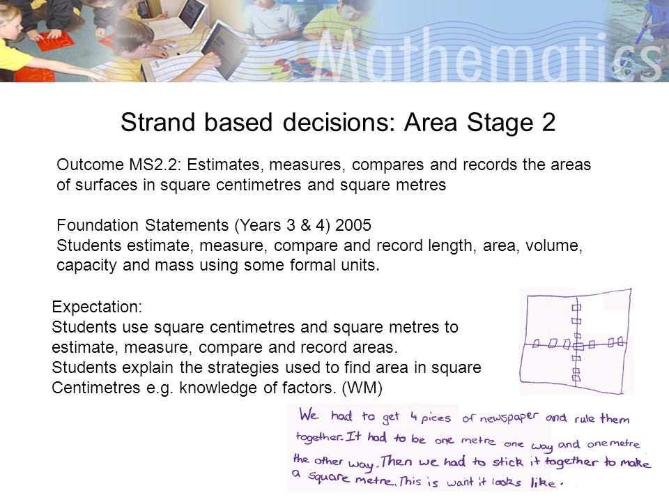 Strand based decisions: Area Stage 2