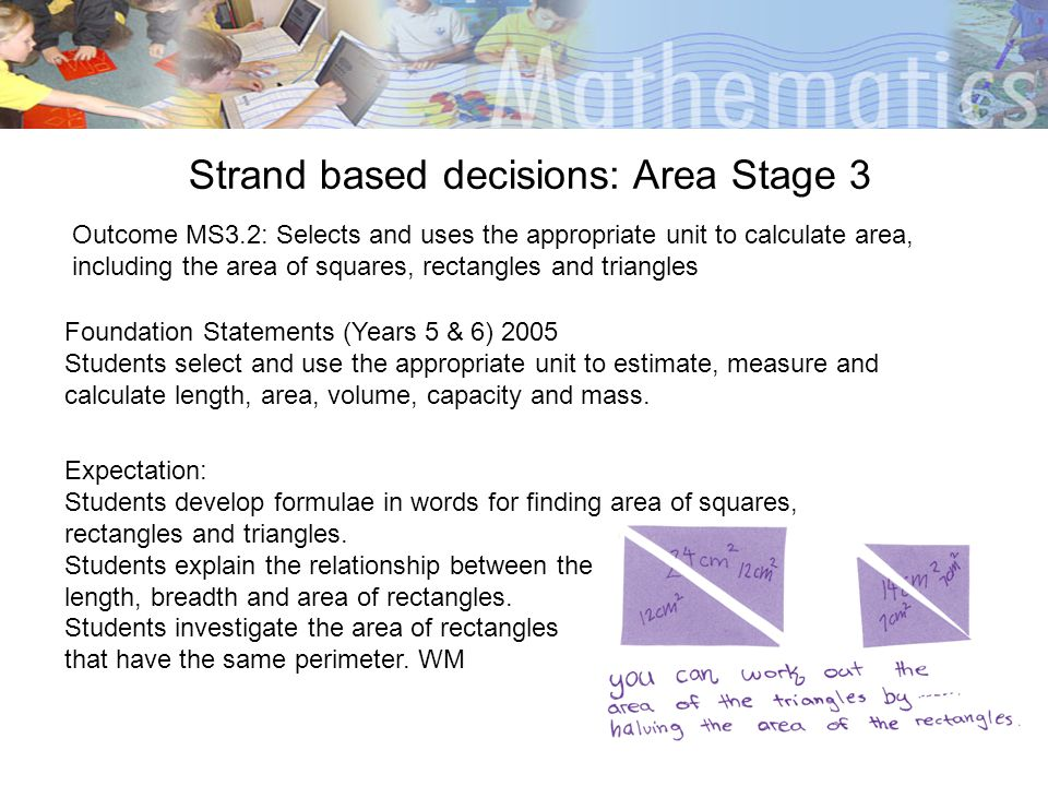 Strand based decisions: Area Stage 3