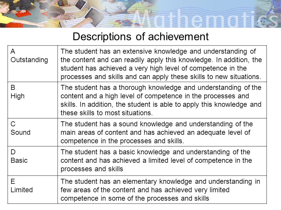 Descriptions of achievement