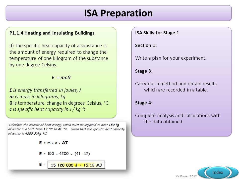 ISA Preparation P1.1.4 Heating and Insulating Buildings