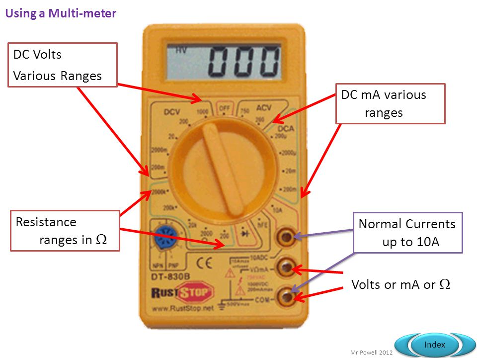 DC Volts Various Ranges DC mA various ranges Resistance ranges in 