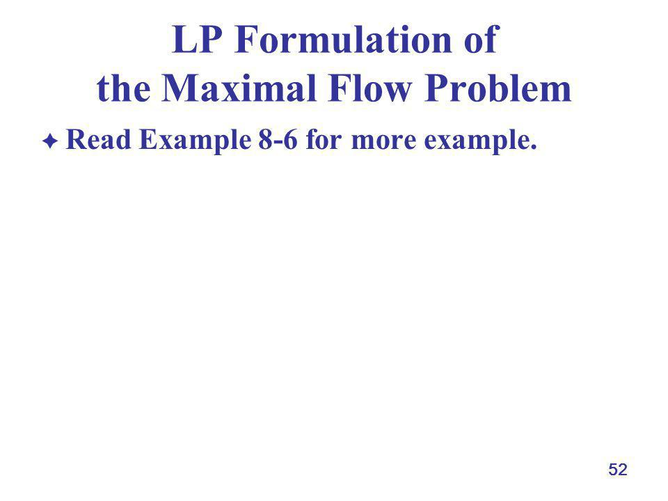 LP Formulation of the Maximal Flow Problem