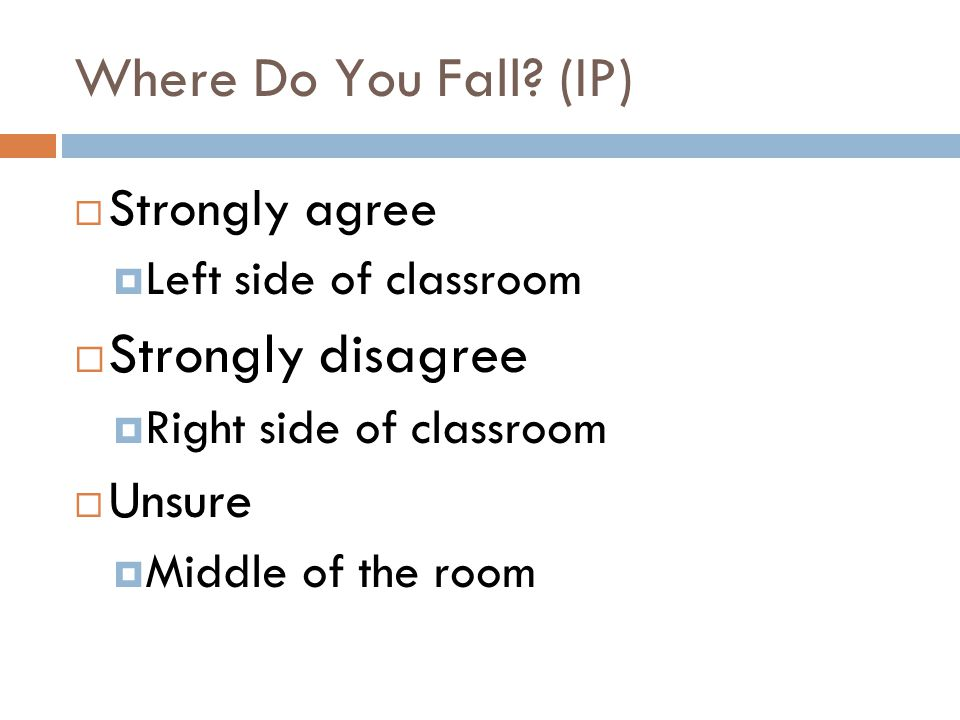 Where Do You Fall (IP) Strongly disagree Strongly agree Unsure
