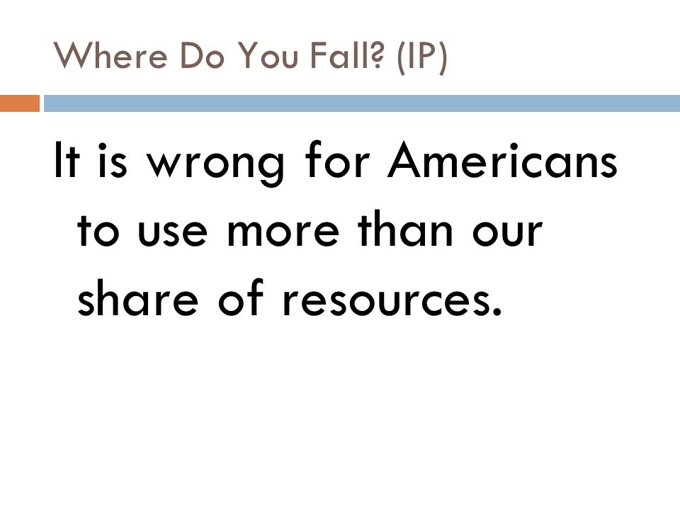 It is wrong for Americans to use more than our share of resources.