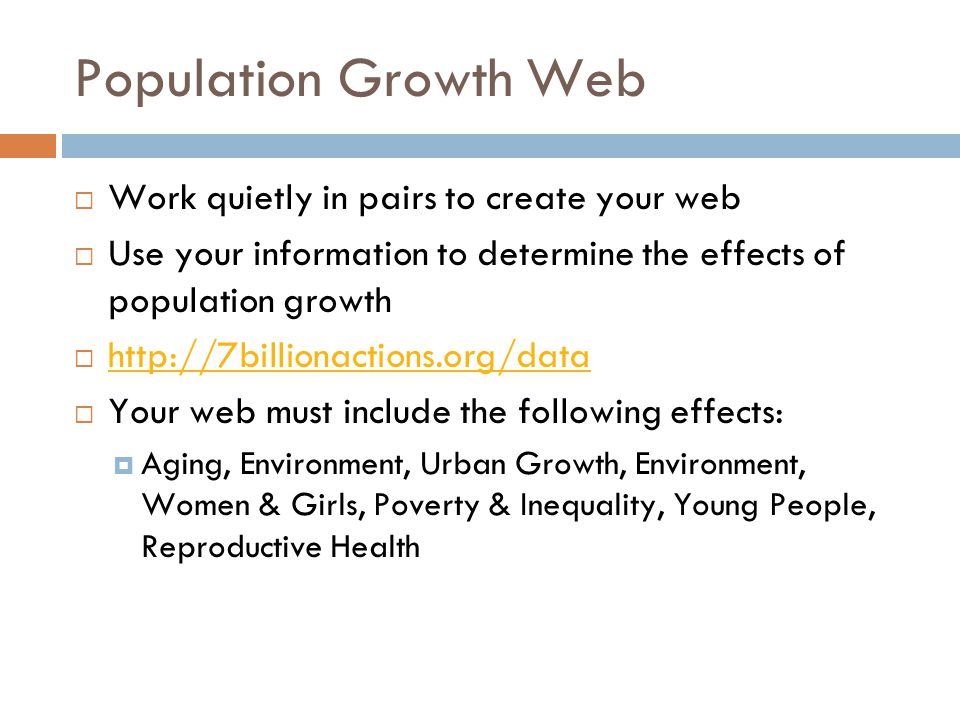 Population Growth Web Work quietly in pairs to create your web