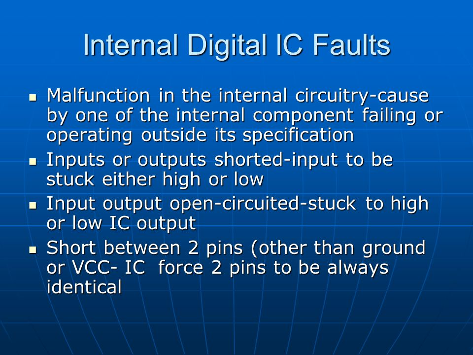 Internal Digital IC Faults