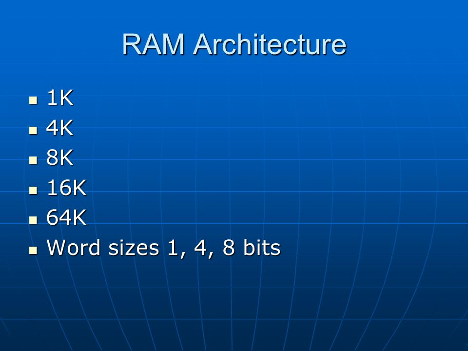 RAM Architecture 1K 4K 8K 16K 64K Word sizes 1, 4, 8 bits