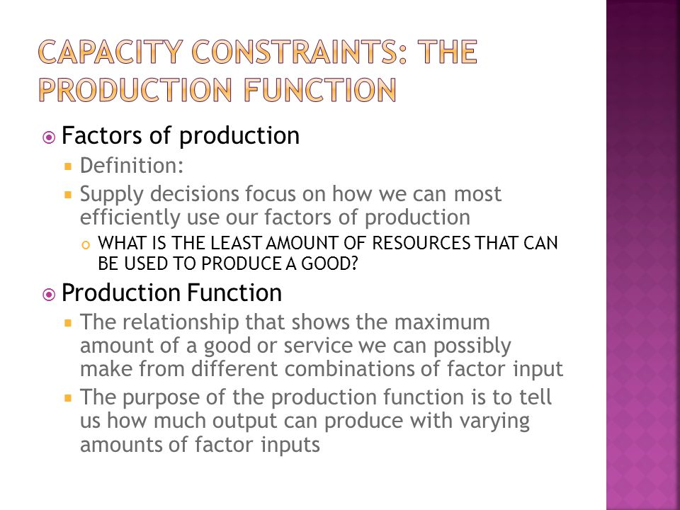 Capacity Constraints: The Production Function