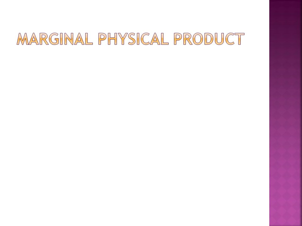Marginal Physical Product