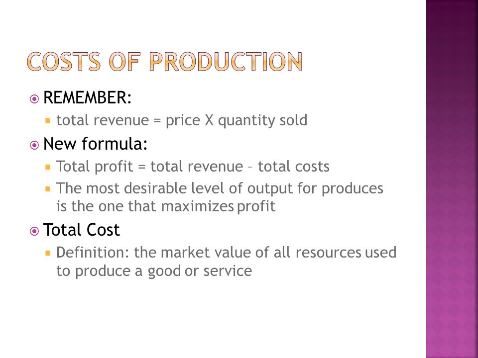 Costs of production REMEMBER: New formula: Total Cost