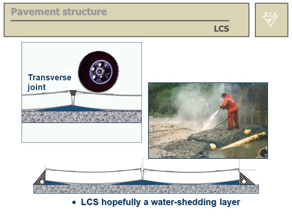 Pavement structure  LCS hopefully a water-shedding layer LCS