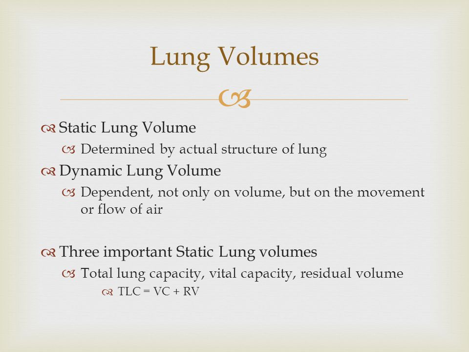 Lung Volumes Static Lung Volume Dynamic Lung Volume