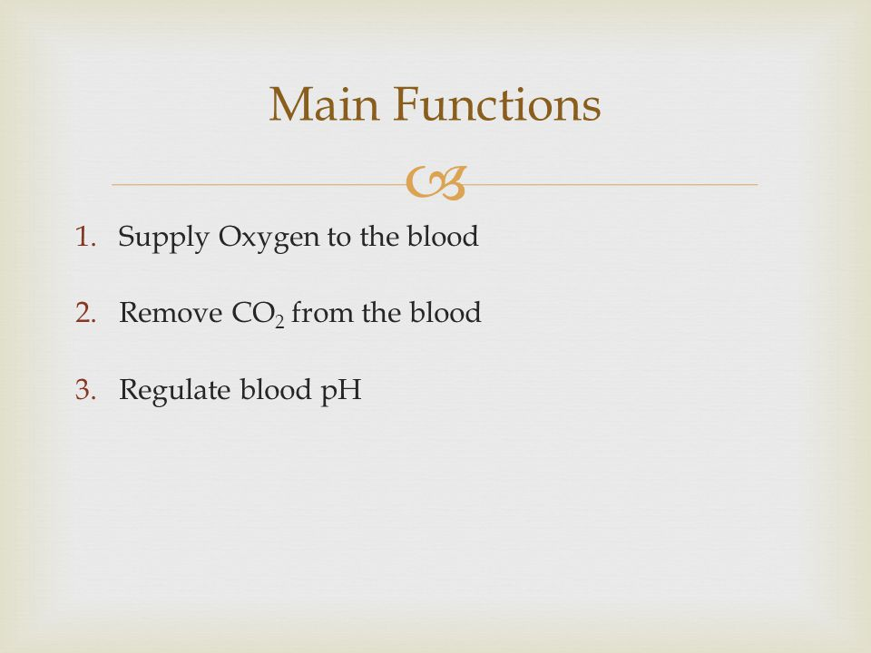 Main Functions Supply Oxygen to the blood Remove CO2 from the blood