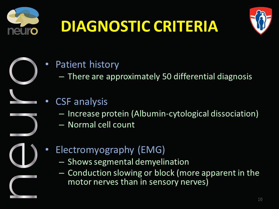 DIAGNOSTIC CRITERIA Patient history CSF analysis