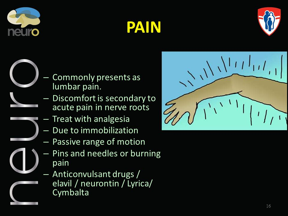 PAIN Commonly presents as lumbar pain.