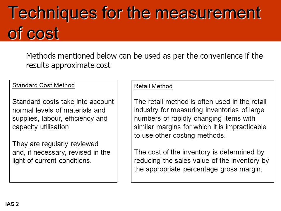 Techniques for the measurement of cost